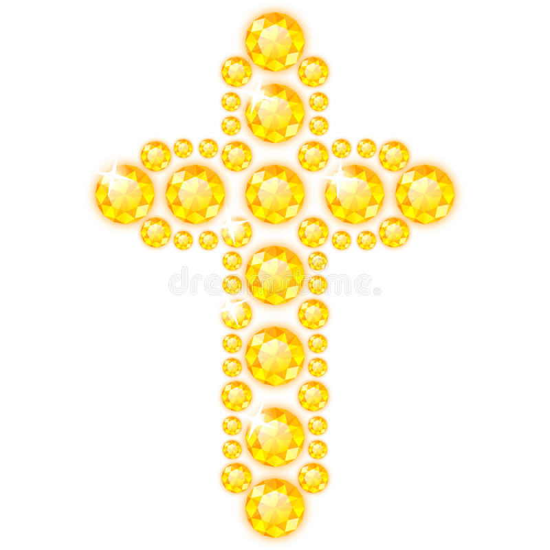 Cross of Diamonds. Isolated on White stock illustration