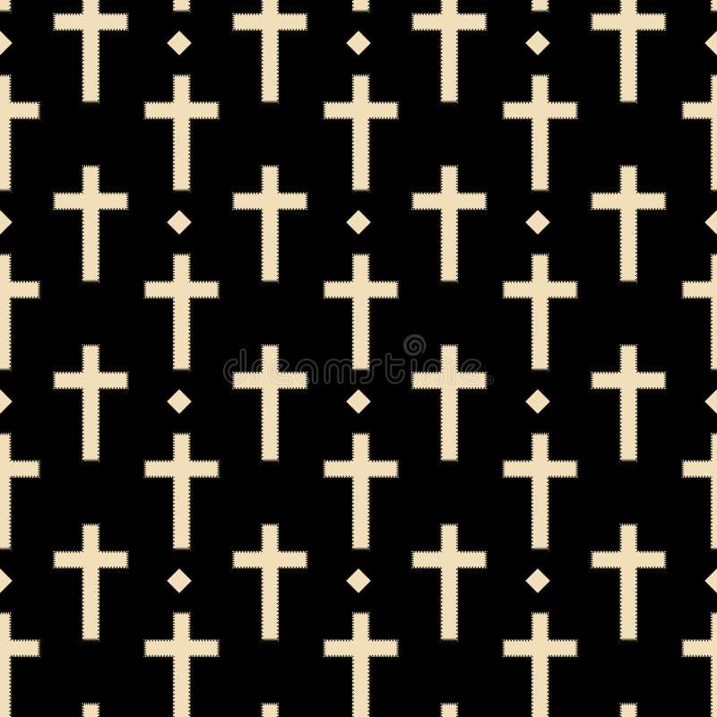 Cross with diamonds pattern seamless in simple style vector illustration. Yellow on black stock illustration