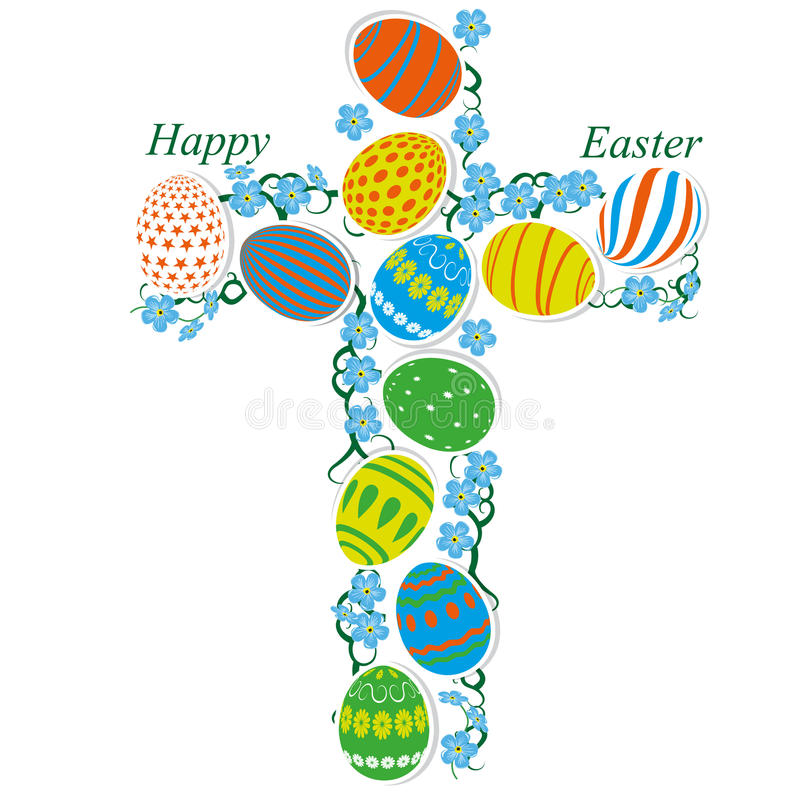 Download Cross of Easter eggs stock vector. Illustration of clear - 24054077