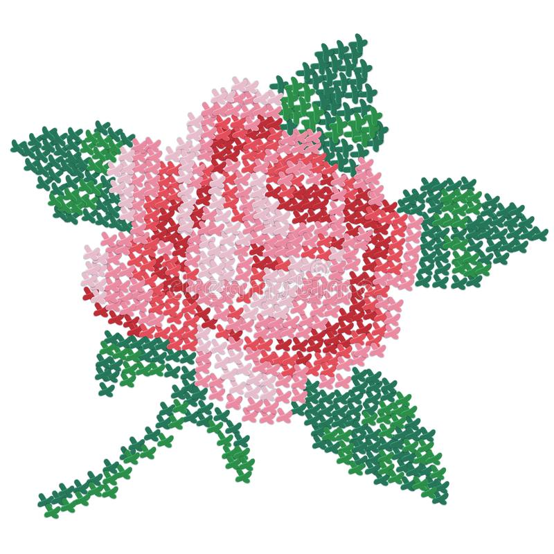 Free Cross Embroidered Rose. Color Image Of On A White Background. Needlework. Vector Illustration For Handcraft Royalty Free Stock Photos - 164282368