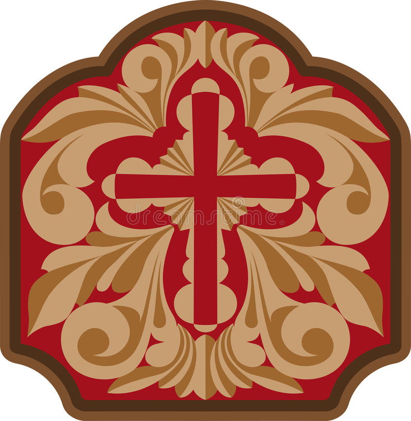 Cross with engraving scrollwork. Vector illustration royalty free illustration