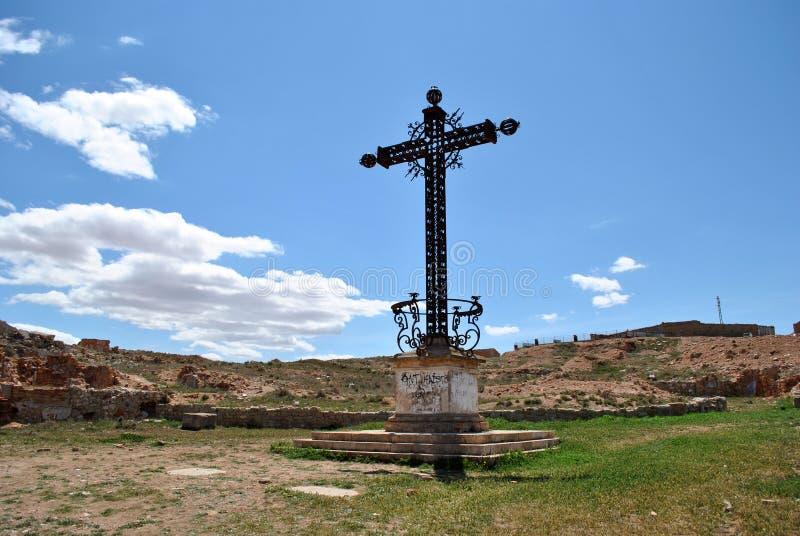 Cross of the fallen in Belchite royalty free stock photos