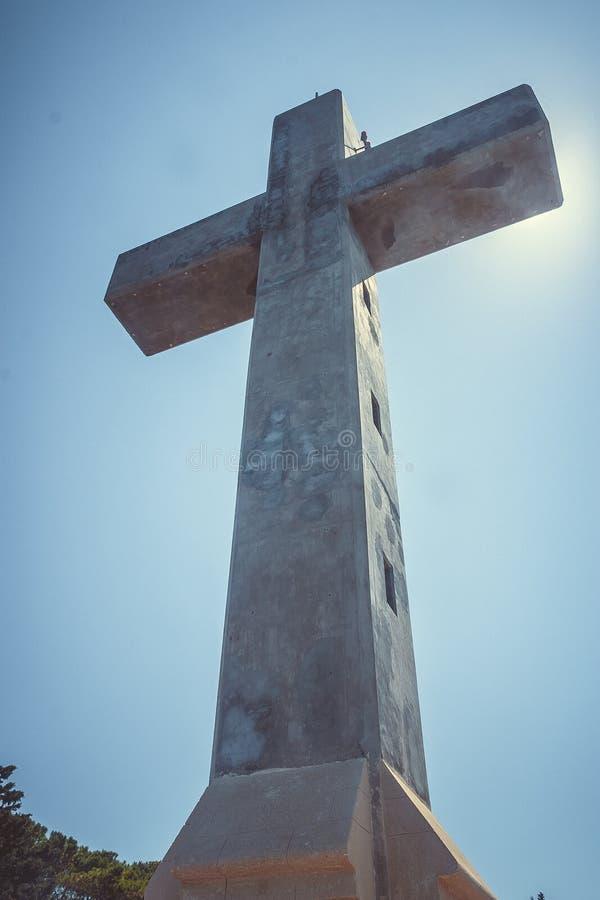 Cross of Filerimos mountain, Rhodes island, Greece stock photos