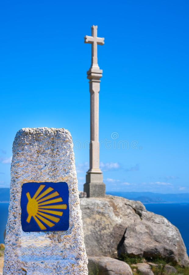 Cross in finisterre end of Saint James Way in Spain royalty free stock photos