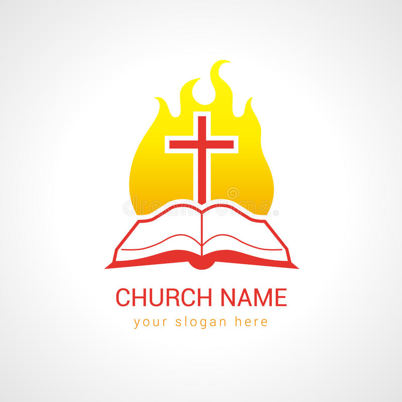 Cross on the flame bible church logo. Church logotype. Religious studying, reading, learning educational symbol, traditional isolated crucifixion template. Fiery stock illustration