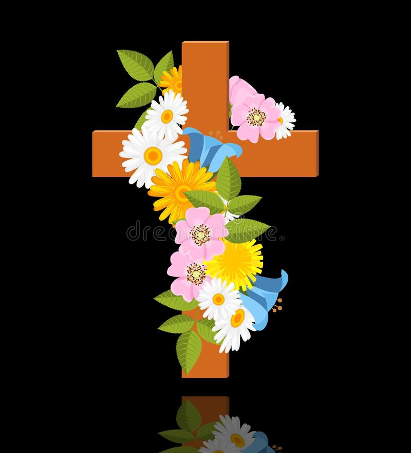 Cross with flowers. Of wild rose on black background - illustration royalty free illustration