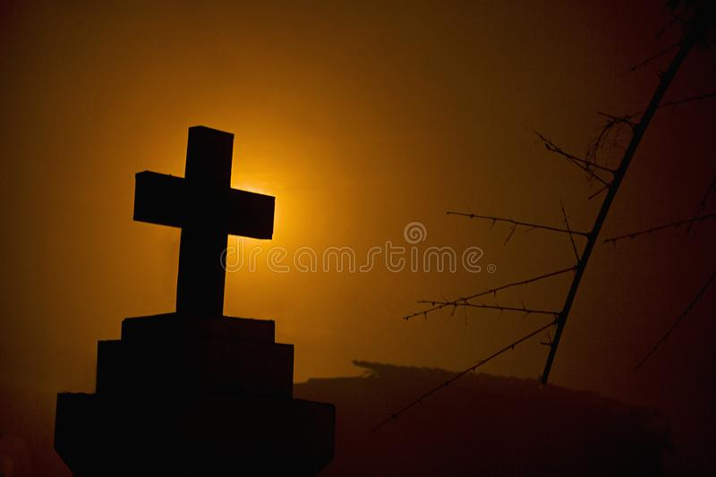 Cross in front of a goan house, India. royalty free stock photo