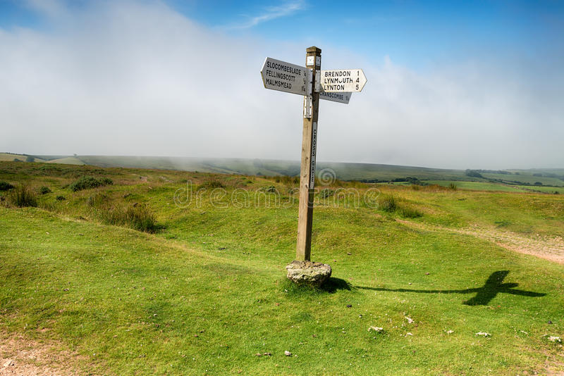 Cross Gate on Exmoor. A signpost at Cross Gate on Exmoor National Park in Somerset stock image