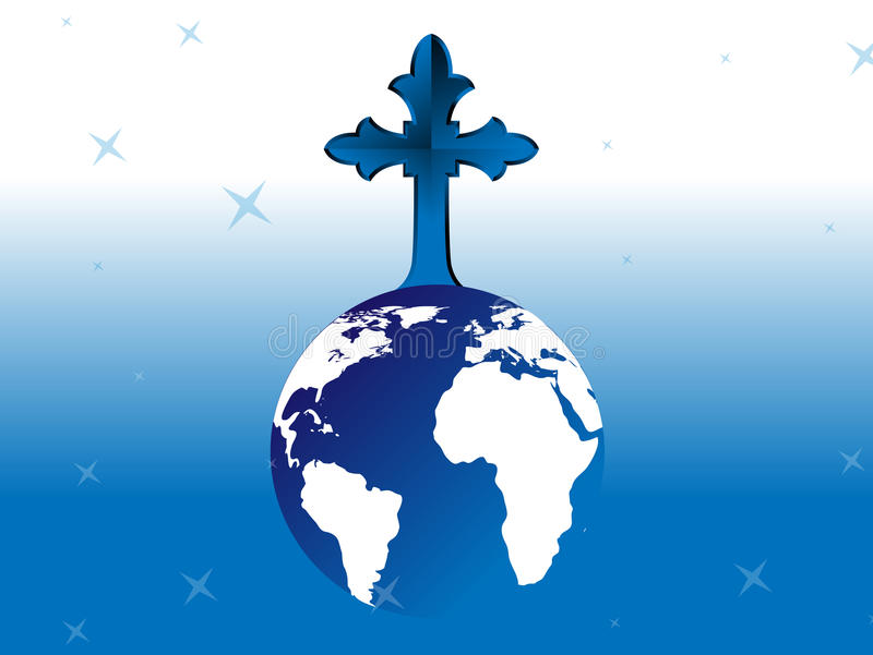 Cross on Globe. With blue background stock illustration