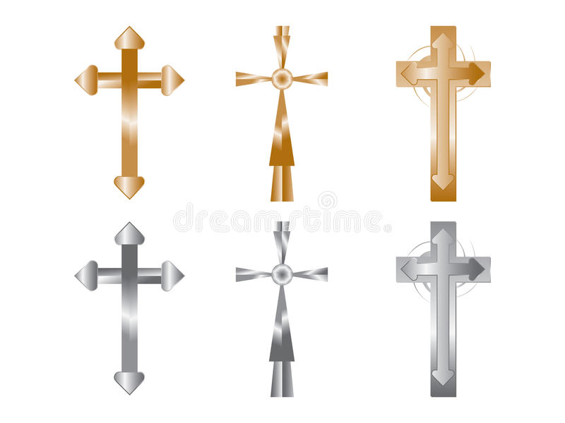 Cross Gold Isolated vector illustration