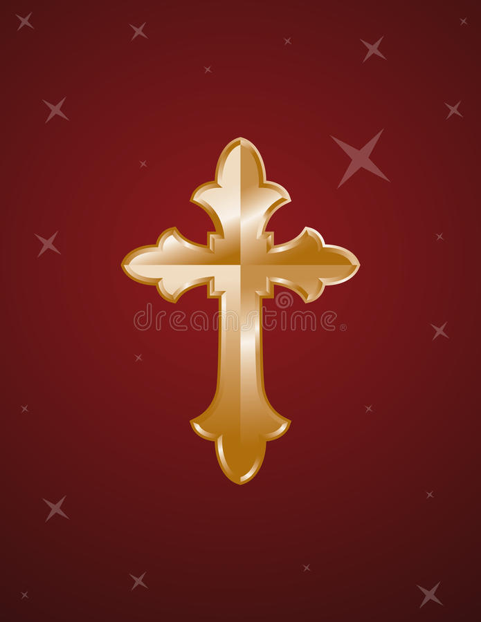Download Cross Gold On Red Background Stock Vector - Illustration of pictures, template: 21101232