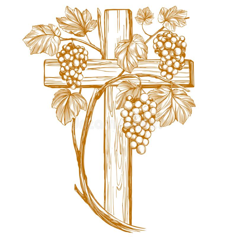 Cross and grape vine, grape, , Easter . symbol of Christianity hand drawn vector illustration sketch.  royalty free illustration