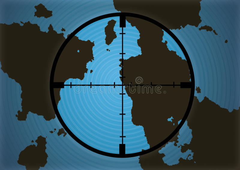 Cross Hairs Over Map Stock Images