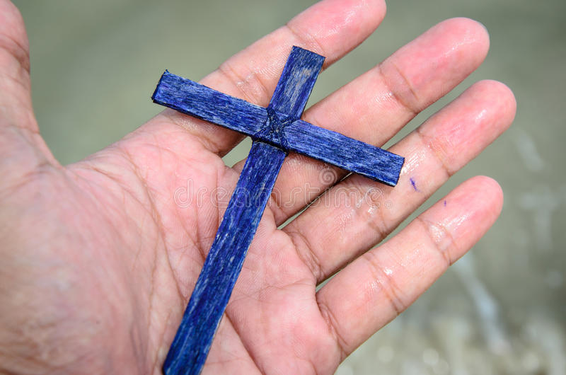 Cross on the hand. royalty free stock photos