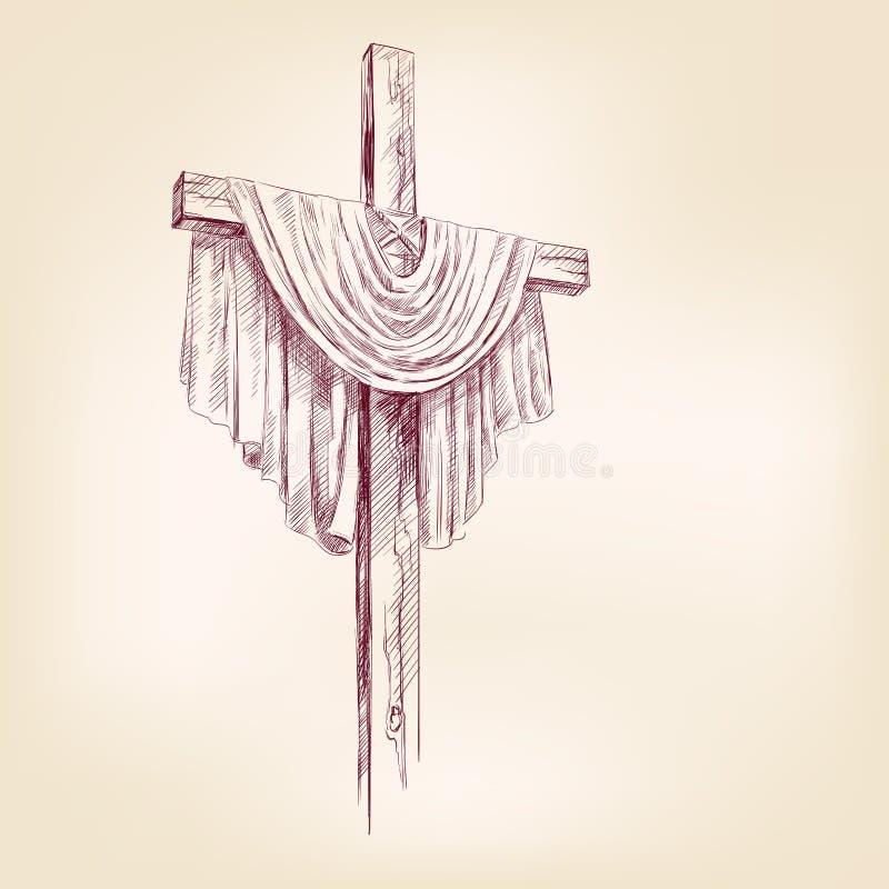 cross hand drawn vector llustration royalty free illustration