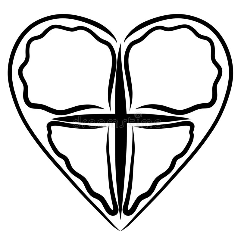 Cross and heart, abstract butterfly image, symbol of life.  vector illustration