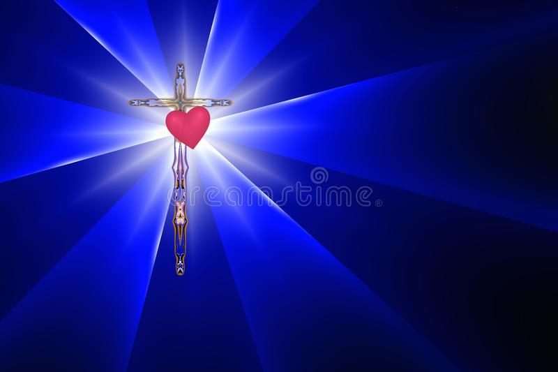 Cross, Heart and Divine Light royalty free stock photos