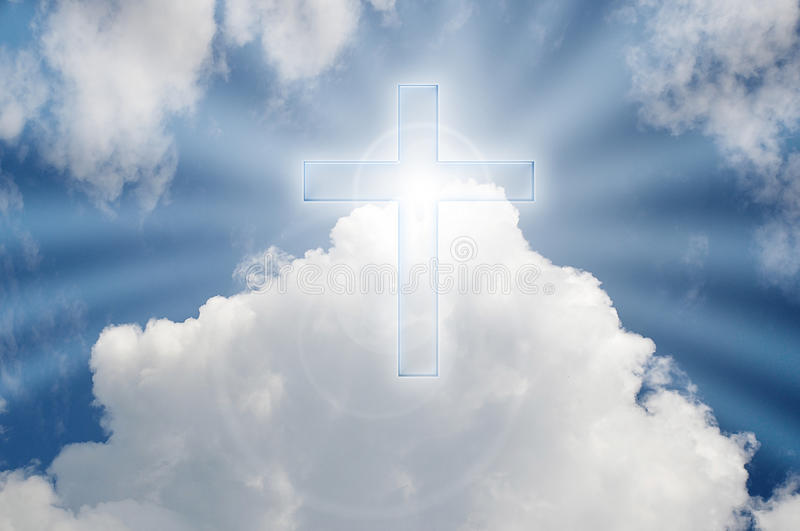 Cross In The Heaven. Cross with rays of light in the sky vector illustration