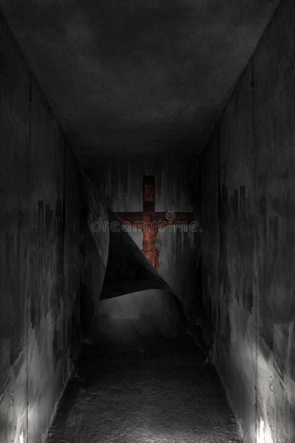 Cross in the hell dark. Red cross in the hell dark vector illustration