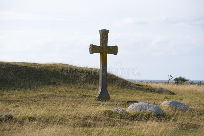 Cross on hill stock image