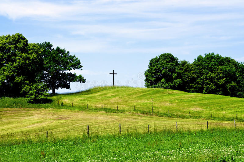Download Cross on a Hill stock image. Image of meadow, hill, idyllic - 25470527