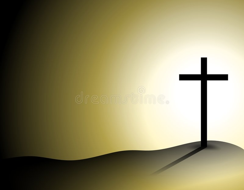 Cross On Hill With Shadows Royalty Free Stock Images