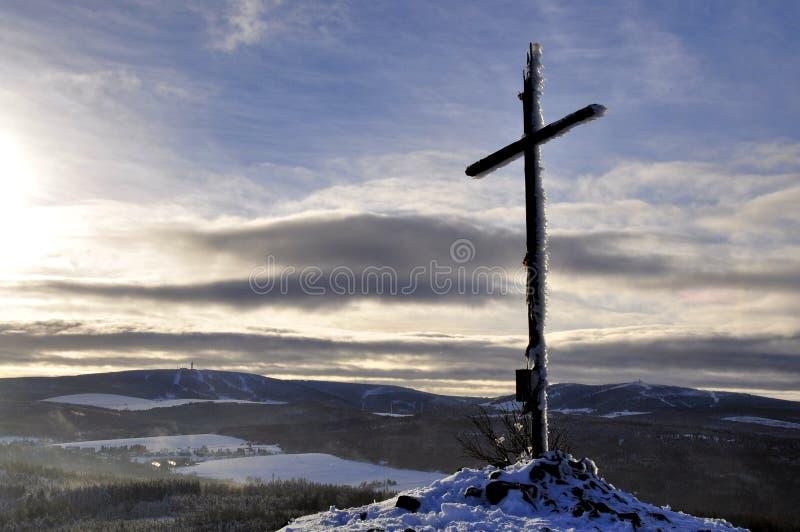 Cross hill top in winter stock photo
