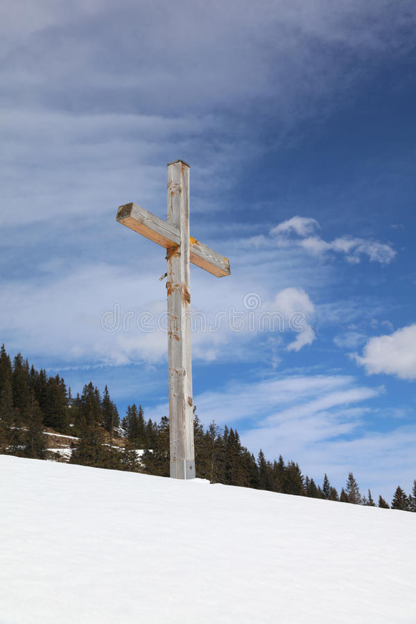 Cross on a Hill. In Vorarlberg. Austria stock image