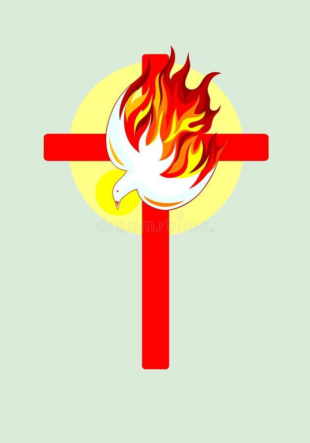 Cross and Holy spirit. Art vector design royalty free illustration