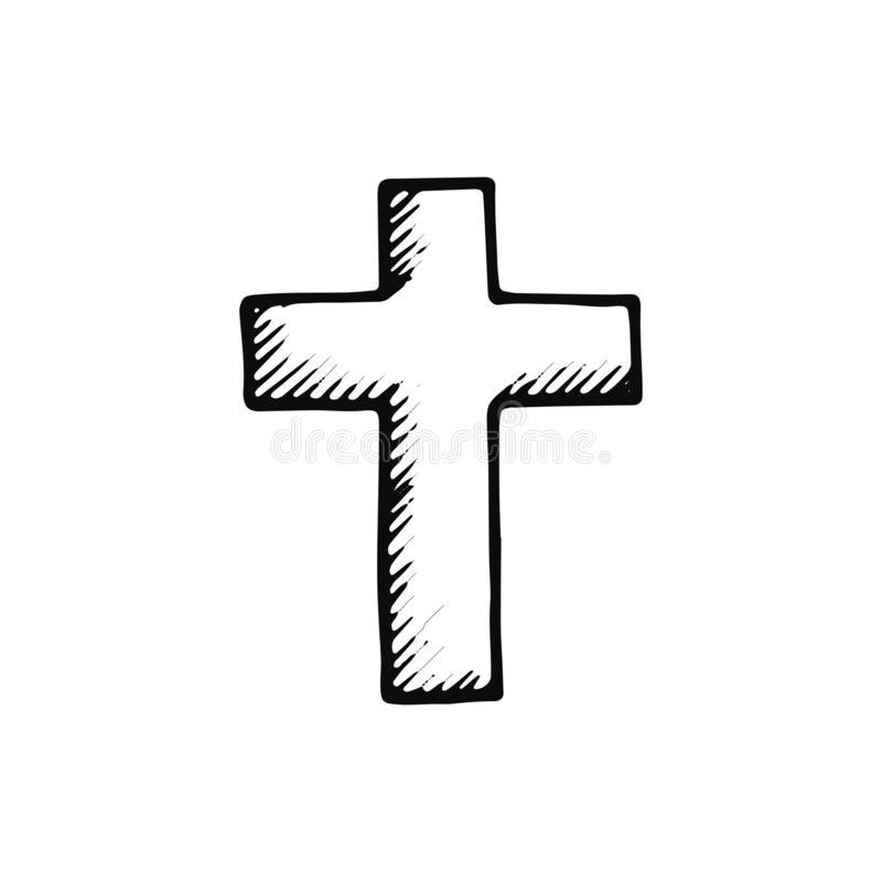 Cross icon. sketch isolated object black.  royalty free illustration