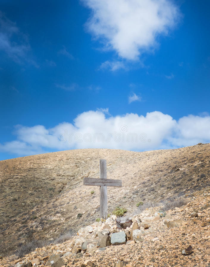 Free Cross In The Mountains Of Fuerteventura Royalty Free Stock Photo - 49913505