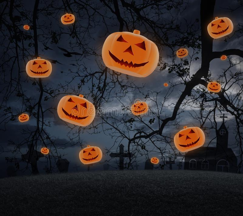 Cross with Jack O Lantern pumpkin fly over spooky cloudy sky royalty free stock photography