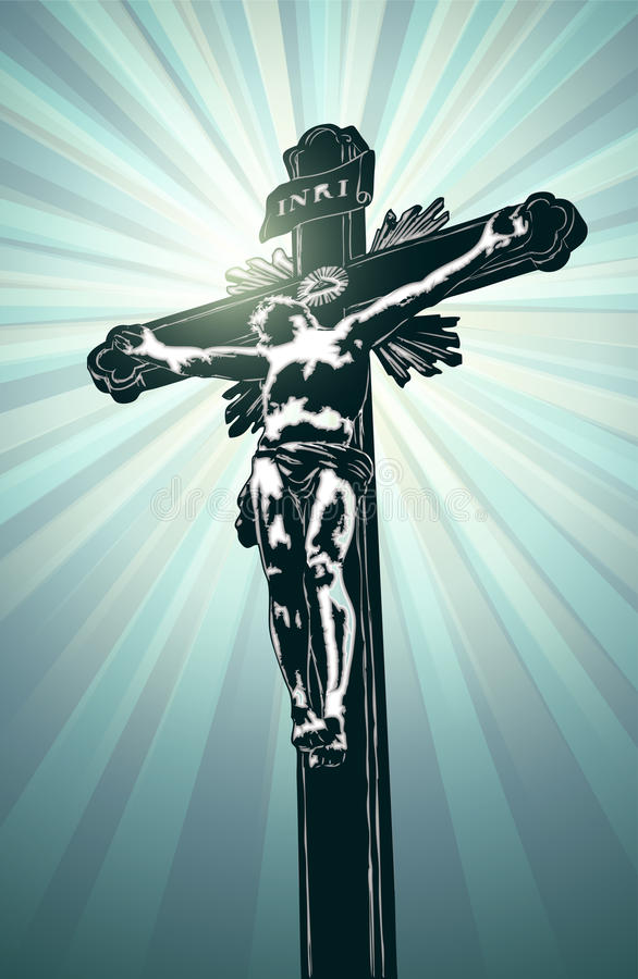Cross with Jesus. Vector cross with Jesus on background with shine stock illustration
