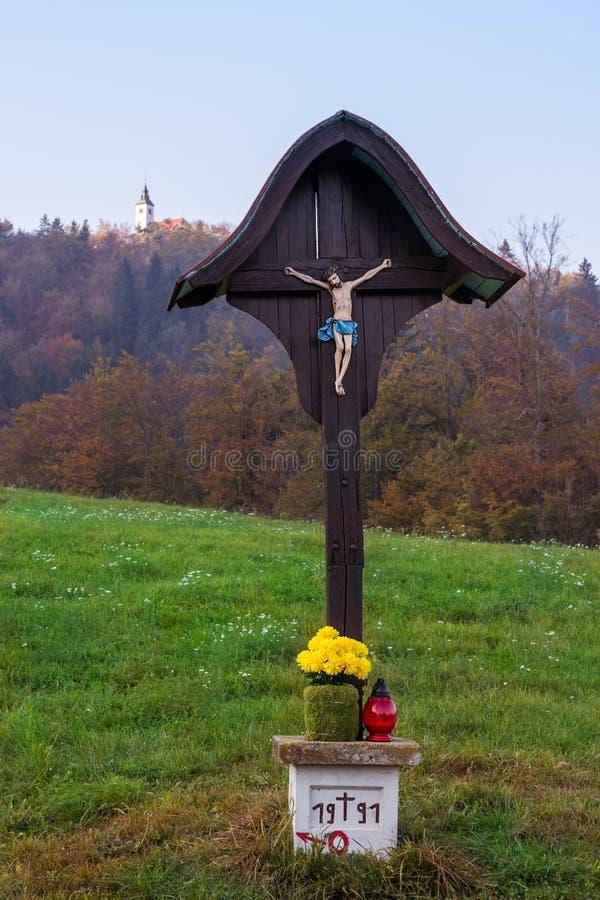 Cross with Jesus Christ stock photo
