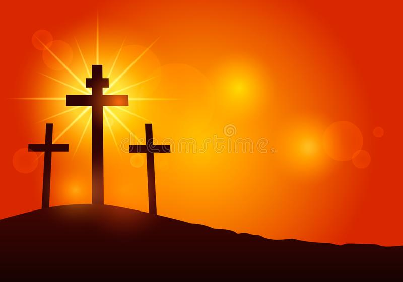 Cross of Jesus Christ on Mount Calvary. Modern illustration of a banner of suffering and resurrection of Jesus. Easter concept.  royalty free illustration
