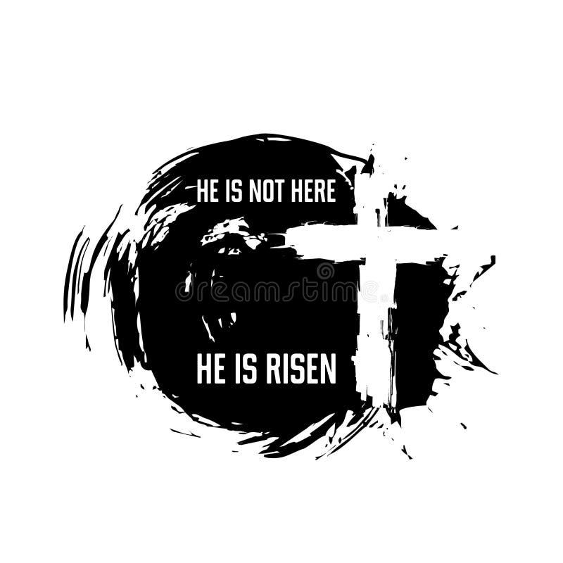 Cross of Jesus. Christ is risen. Easter illustration royalty free illustration