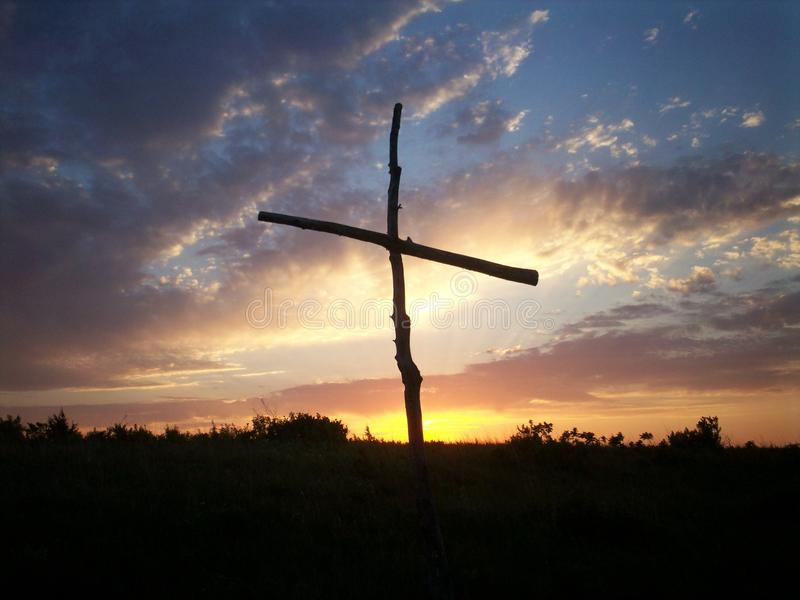 Cross at KS sunrise royalty free stock photo