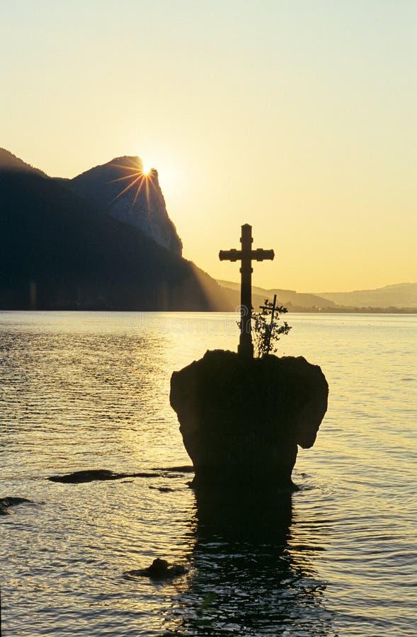 Cross on lake royalty free stock photo