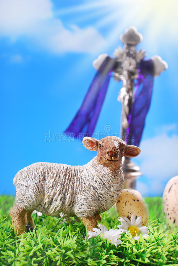 The Cross And Lamb As Symbol Of Easter Stock Image Image Of