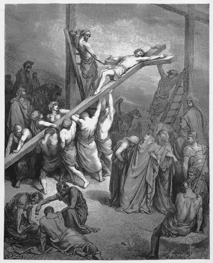 The Cross Is Lifted Up with Jesus. Picture from The Holy Scriptures, Old and New Testaments books collection published in 1885, Stuttgart-Germany. Drawings by