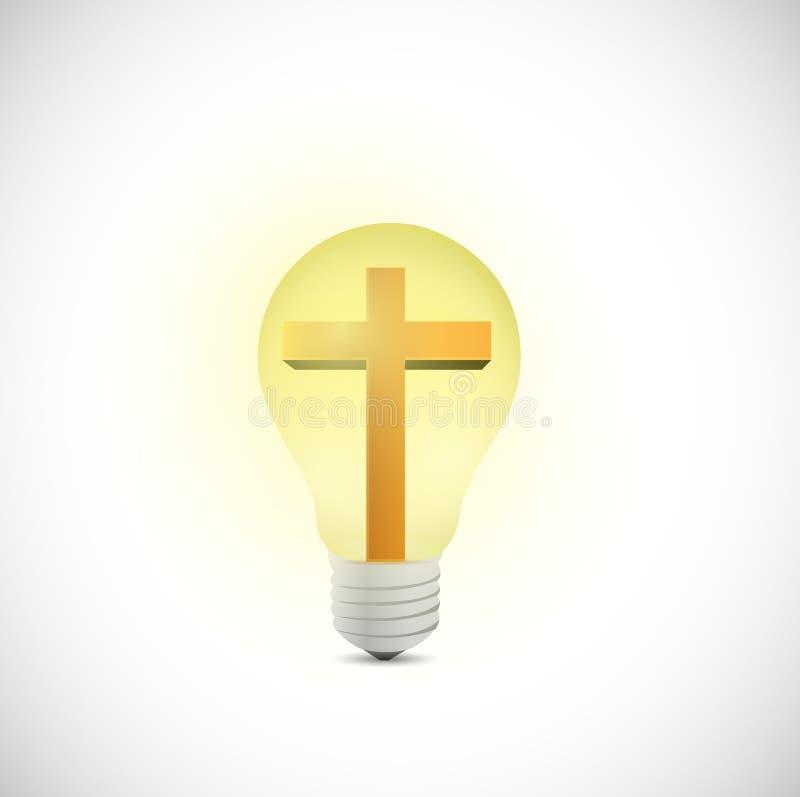 Cross and light bulb illustration design stock illustration