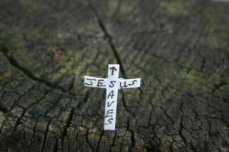 Cross In A Log Royalty Free Stock Image
