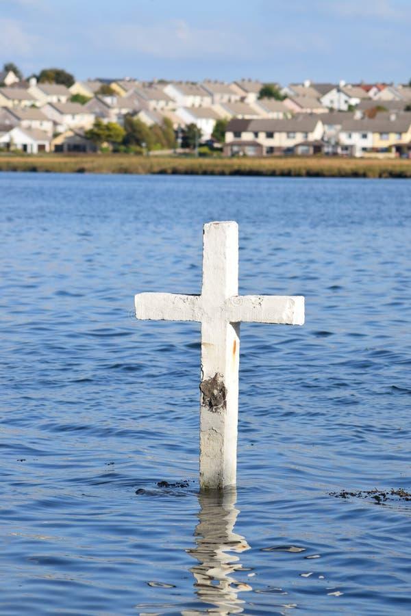 Cross in Lough Atalia, Galway, Ireland stock photo