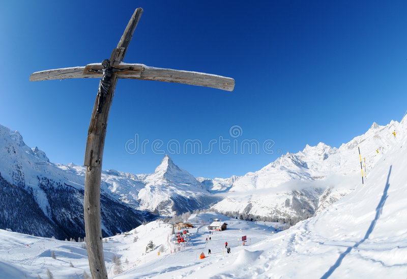 Cross on Mattehorn mountain stock photos