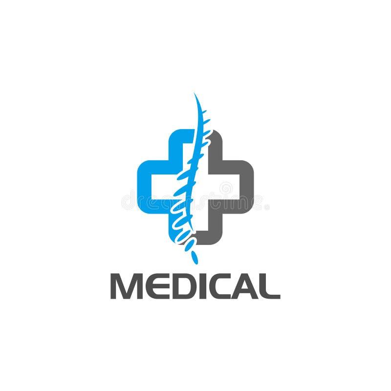 Cross medical spine logo design. Cross logo medical spine diagnostic center mockup emblem, rehabilitation clinic graphic design element symbol stock illustration