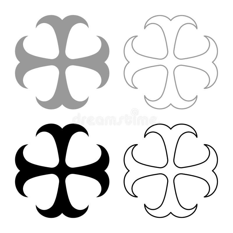 Cross monogram dokonstantinovsky Symbol of the Apostle anchor Hope sign Religious cross icon set black color vector illustration stock illustration