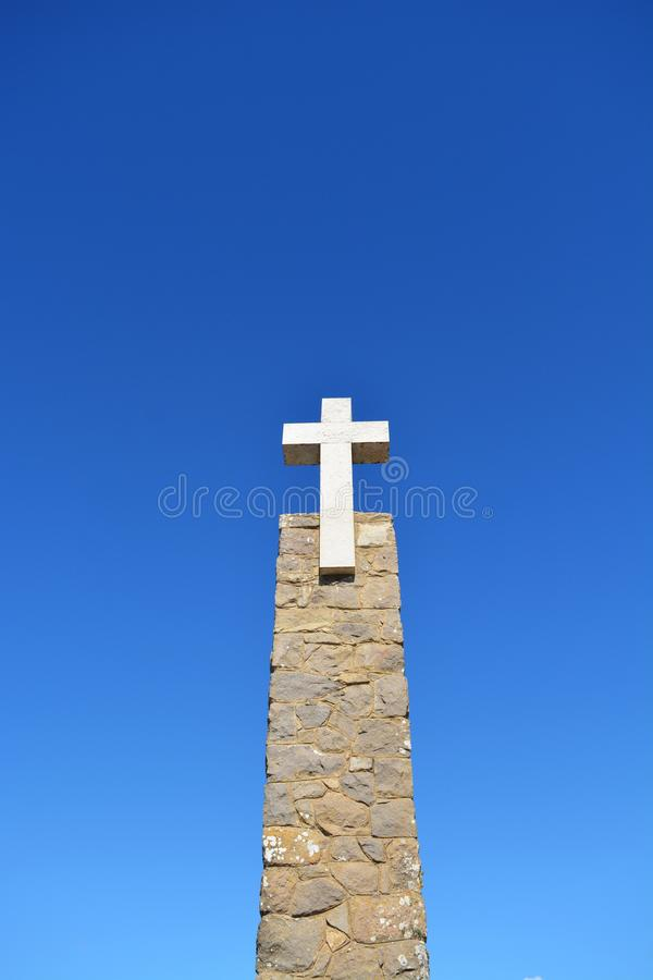 Cross.  The most western place in Europe.  Blue sky.  geography tourism. Cabo da Roca. Portugal stock images