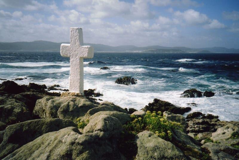 Cross near the sea - Costa da Morte royalty free stock images