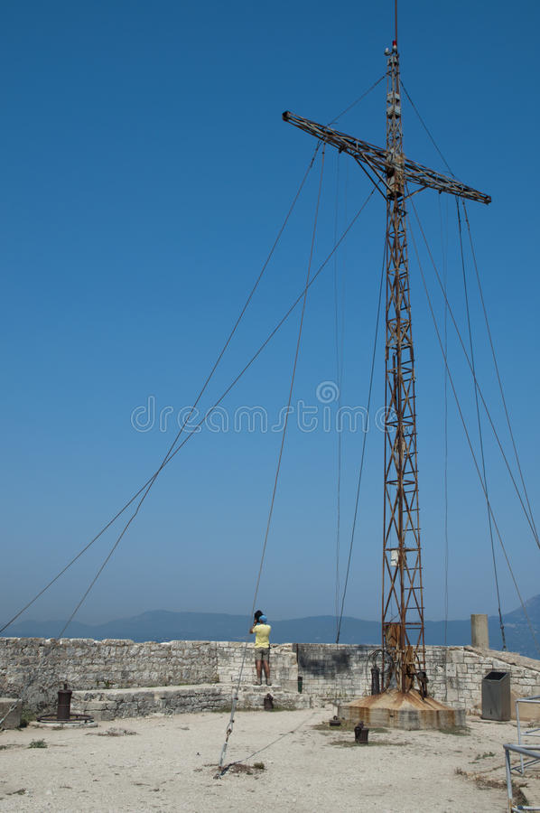 Cross Of The Old Fortress Of Corfu Stock Photography