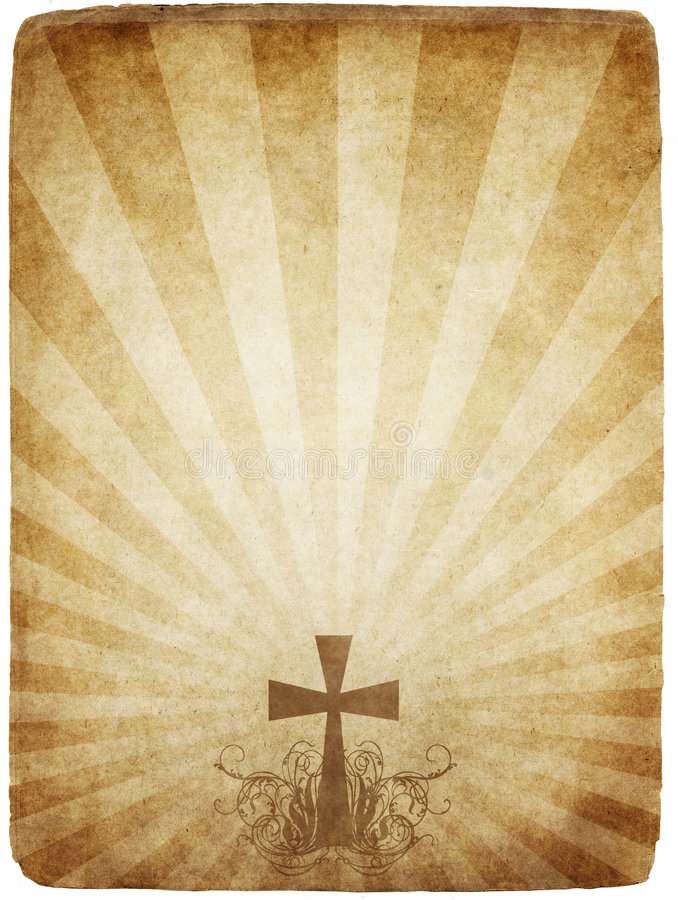 Cross on old parchment vector illustration